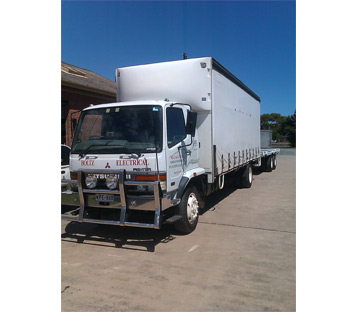 Boltz Electrical transport truck. Used to transport generators and all electrical equipment that is hired.