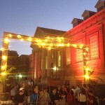 Event and festival Electricians created lit up arches with festoon lighting at the Adelaide University O-Week.