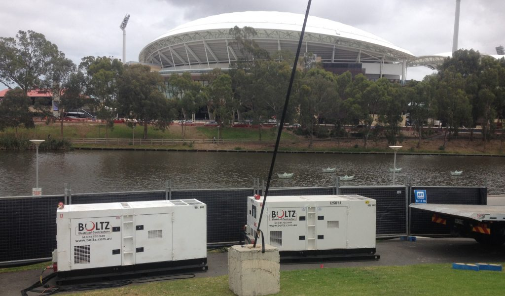 Boltz Electrical generators for hire. In this photo, the generators were hired out to Elder park for ACC NYE concert in Adelaide South Australia