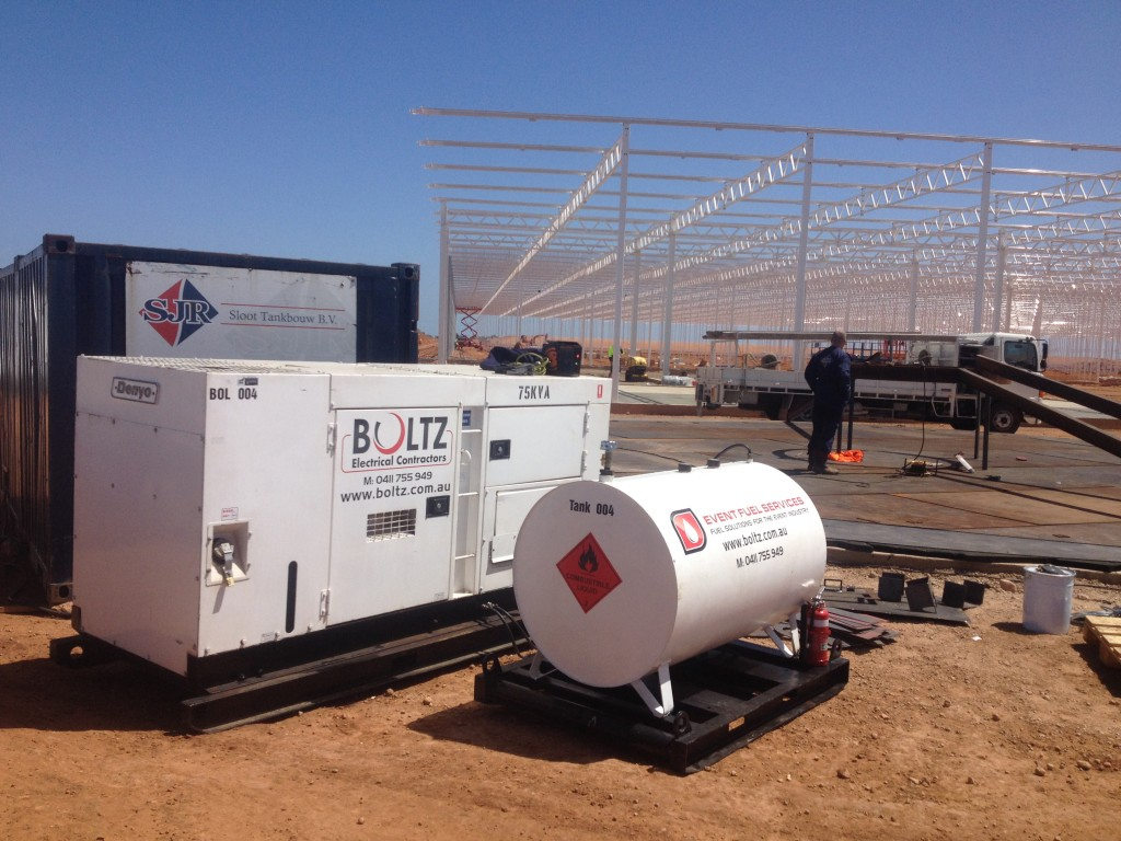 Boltz Electrical generator and back up fuel tank on a site in the desert on a big project in Darwin Australia.