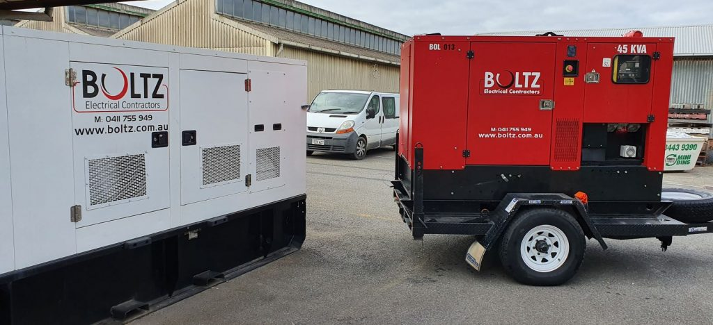 Boltz Electrical generators for hire at the Boltz headquarters.